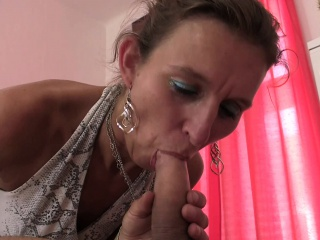 Hairy pussy granny masseuse sucks and rides cock