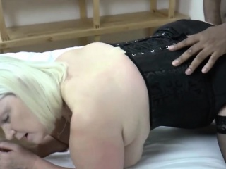 Hot blonde granny gets fucked by bbc doggystyle