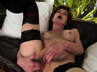 Stockinged granny doggystyled passionately