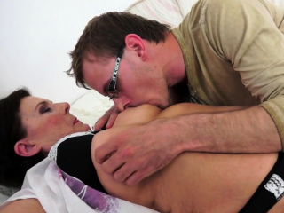 Chubby amateur granny fucked by young man