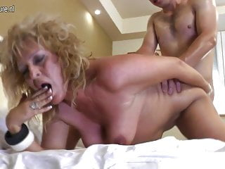 55YO mature mom fucks her young boy