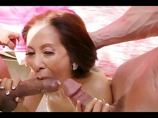 Asian granny doublefucked while her husband is out