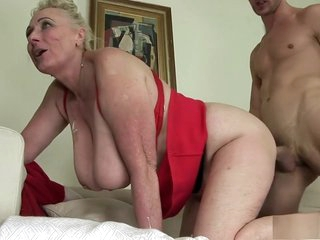 Busty granny begs to bang a young stud and get her pussy licked