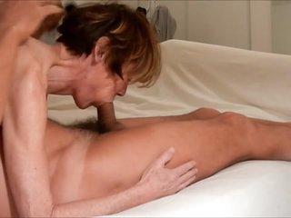 Granny Clarill suck boyfriend cum in mouth and on face