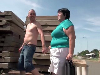 Ugly grandma with 1 inch nipples fucked outdoors