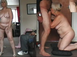 67 yo Granny dancing naked, cock sucking and cum drinking