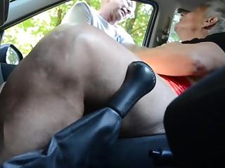 Granny slut in the car