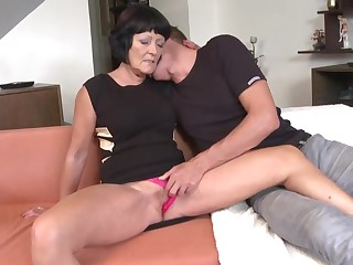 Two grannies suck and fuck two young boys