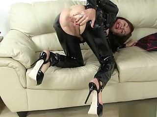 British milfs Eva Jayne and Georgie Nylons in PVC