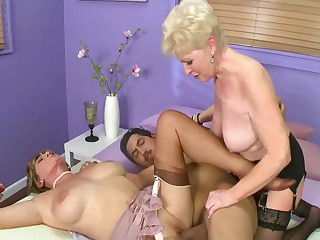 Two Grannies Share a Big Cock