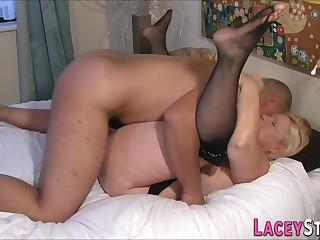Chubby granny sucks long dong