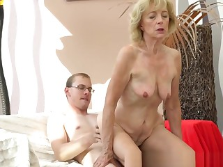 Saggy Grandma Creampied By Young Guy