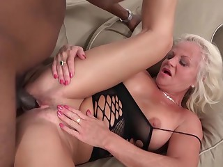 Grannies with big boobs love BBC interracial anal fuck
