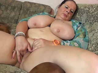 Mature BBW mom massaging her big tits and vagina