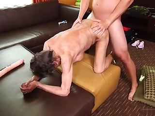 Depraved perfection. Granny lets in the ass, mouth and pussy