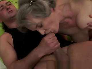 Mature hairy granny with big tits fucked by guy