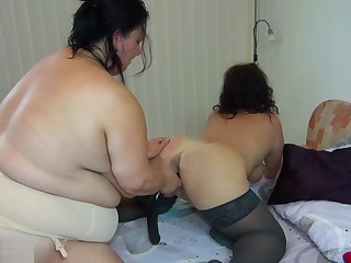 Chubby granny with big tits and her girlfriend fuck