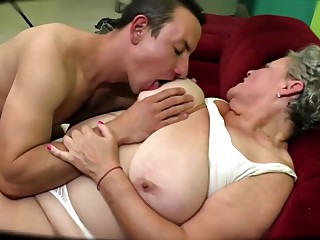 Chubby Greyhaired Granny Fucks Young Mate