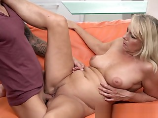 Busty Blonde Gilf Rides Hard Cock