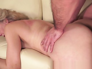 Hairypussy granny banged from behind
