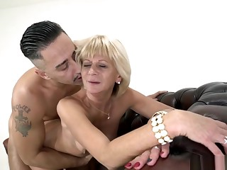 Blonde GILF fucked rough in doggy style