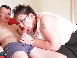 Teen gardener Sam Bourne with big dick fucks bbw granny