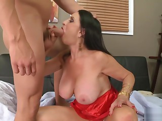 Rita big boobed hot granny is horny for young cocks