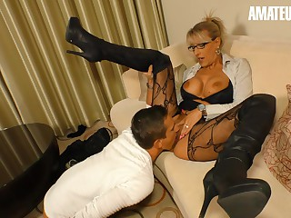 AMATEUREURO - Super Hot Mature Stepmom Seduces and Fucks Young Guy