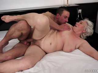 Big Granny gets creampied with young dick