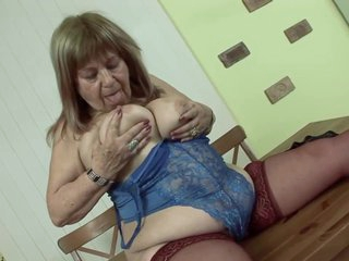 Elderly Hungarian woman with big, saggy tits is moaning while riding a rock hard cock