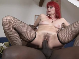 Ugly Redhead Grandma Penetrated By Big Black Cock - Old Interracial With Cumshot