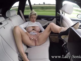 Lady Sonia In Is Horny In The Back Of The Car