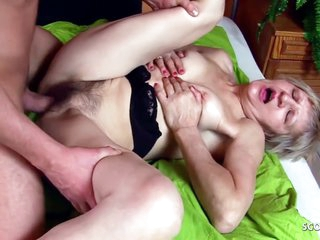 Young Boy In 73yr Old Grandma With Extreme Hairy Pussy Fuck By
